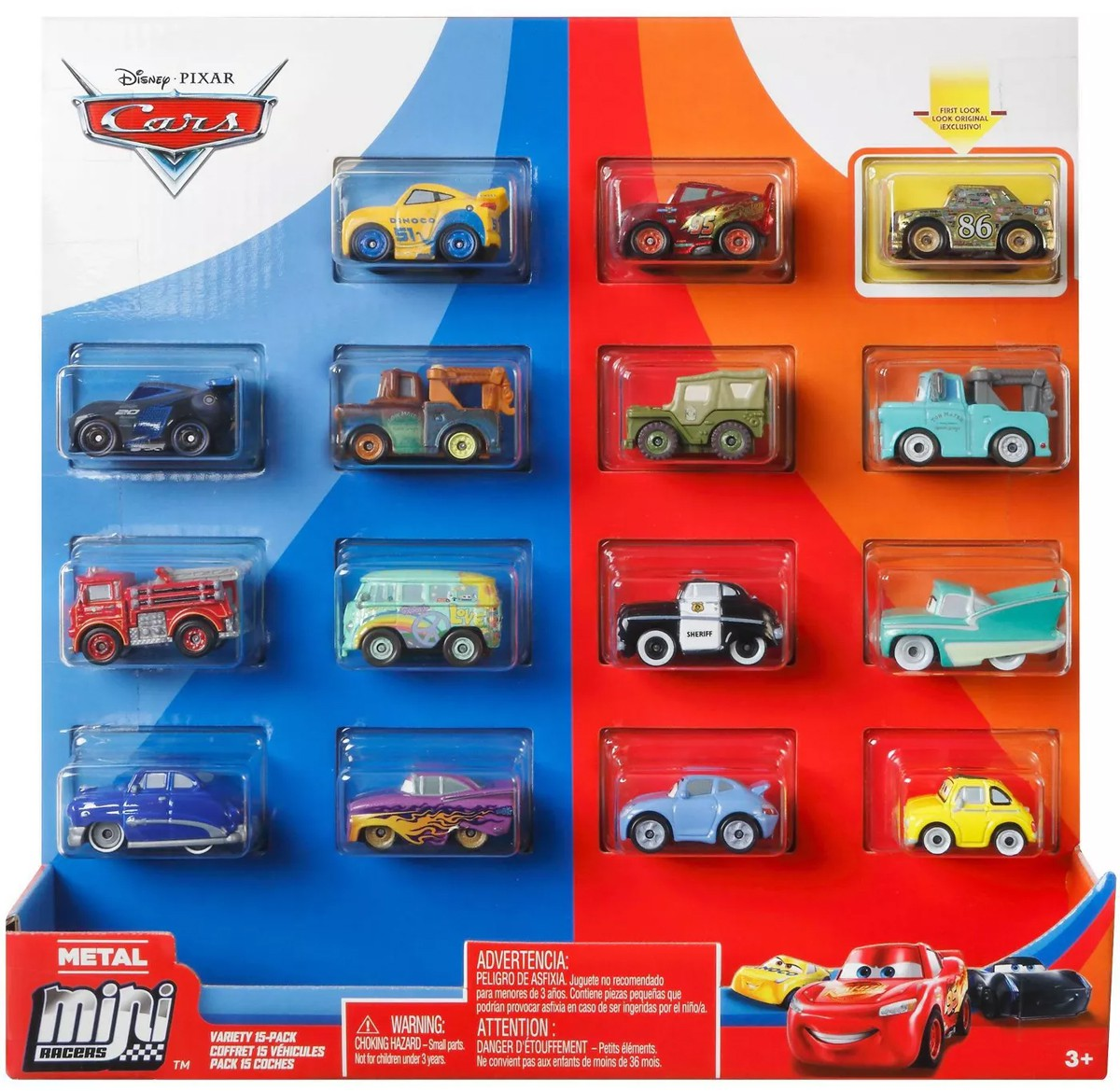 Disney Pixar Cars Die Cast Metal Mini Racers Variety Car 15 Pack