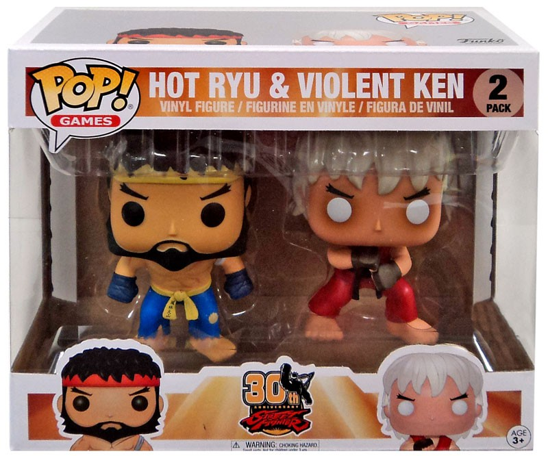 MPreview Street Fighter 30th Anniversary Pop Games 2 Pack Hot Ryu and Violent Ken Exclusive Vinly Figure Rare
